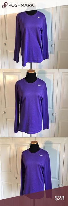 Nike DRI FIT Long Sleeve Shirt Purple Nike Dri fit long sleeve shirt. Brand new without tags. NWOT. Perfect condition. Size small, but runs big. I would say this is more of a medium. Nike Tops Tees - Long Sleeve