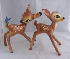 Disney Evan Shaw Bambi Ceramic Deer Figurine Butterfly American Pottery Lot of 2 | eBay