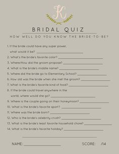 Bridal Shower Games, Bridal Shower Quiz, How Well Do You Know the Bride?…