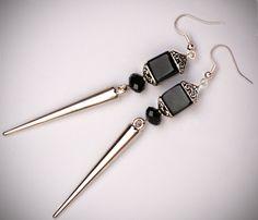 Goth Earrings, Spike Earrings, Black Cube Earrings, Spikes, Pagoda, Silver, Gothic Jewelry, Boho, Geo, Fashion Jewelry. $14.50, via Etsy.