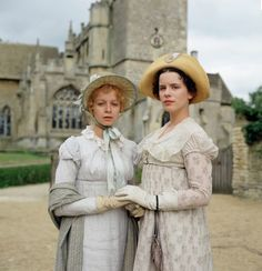 Samantha Morton as Harriet and Kate Beckinsale as Emma in the BBC series 'Emma' (1996). The time period is ca. 1815.