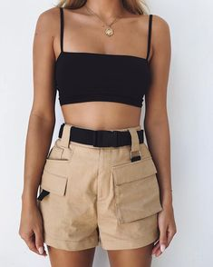 Top Outfits Summer Ladies Women Casual Tank Tops Vest Sleeveless Cotton Crop Top Tee Shirt Bustier Bralette Strappy Corset Summer Clothing Color black Size S Women's Summer Fashion, Look Fashion, 90s Fashion, Fashion Outfits, Womens Fashion, Fashion Trends, Feminine Fashion, Dress Fashion, Latest Fashion
