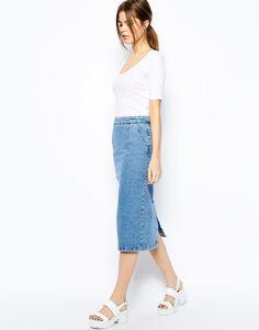 Warehouse Zip Through Denim Skirt
