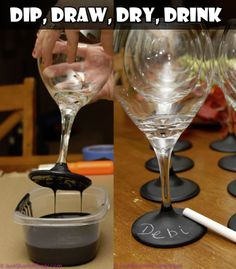 Wine Glasses Dipped in Chalkboard Paint | DIY for Life