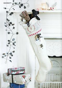 white Christmas stocking from Sweet Living magazine