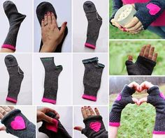 Socks into gloves/handwarmers. I've got lots of socks with holes in the toes. Sewing Hacks, Sewing Crafts, Sewing Projects, Craft Projects, Craft Ideas, Look Fashion, Diy Fashion, Fashion Ideas, Winter Fashion