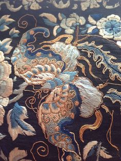 Antique Chinese Qing Embroidered textile by Ritzco on Etsy