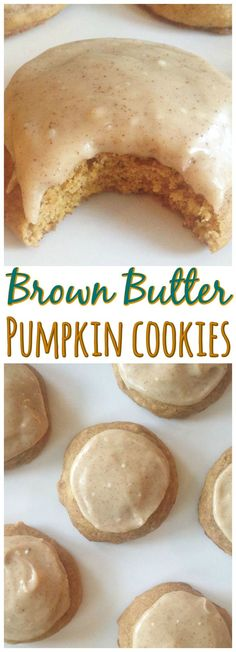 Pumpkin Cookies with Brown Butter Icing! A soft and tender cake-like pumpkin cookie slathered with an amazing brown butter icing! Pumpkin Cookie Recipe, Pumpkin Butter, Pumpkin Spice Cookies, Healthy Pumpkin Cookies, Cookie Pie, Cookie Monster Pumpkin, Pumpkin Baking Recipes, Pumpkin Deserts, Pumpkin Puree