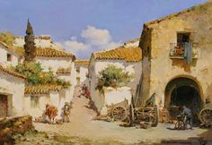 pinturas-realistas-de-paisajes-coloniales-en-acuarela-y-oleo