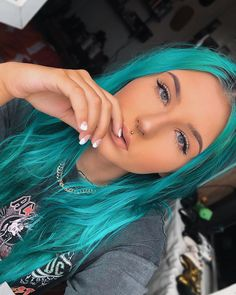 is straight up shining in our Neptune Pack Dyed Hair Blue, Teal Hair, Turquoise Hair, Coloured Hair, Teal Blue, Hair Cuts, Hair Color, Hairstyle, Hair Ideas