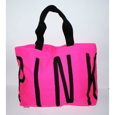 Victoria's Secret Love Pink Bag Travel Zipper Canvas Tote Rare ($20) ❤ liked on Polyvore