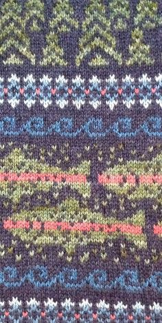 Summer Nights on the North Fork of the Duchesne pattern by Arenda Holladay - - Fair Isle Knitting Patterns, Knitting Charts, Knitting Stitches, Knitting Socks, Hand Knitting, Vintage Knitting, Punto Fair Isle, Motif Fair Isle, Fair Isle Chart
