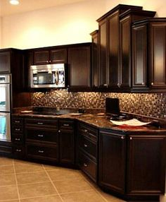 Top 35 Pinterest Gallery 2013 Dark brown cabinets Dark brown