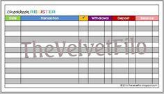 Checkbook Register for personal size Filofax by Thevelvetfilo Checkbook Register, Check Register, Franklin Covey, Room Organization, Filofax, Bar Chart, Budgeting, Printables, Planner Ideas