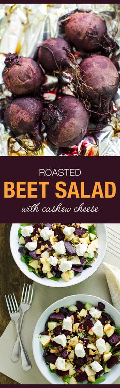 Roasted Beet Salad with cashew cheese - a delicious vegan and gluten free recipe - makes a great main meal or side dish | VeggiePrimer.com