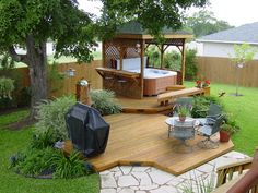 This gazebo has a built in bar seating so you can take your pick of where you would like to enjoy your favorite adult beverage. Making your hot tub a centralized part of your outdoor entertainment space keeps it from becoming placed someplace awkward or considered an eyesore.