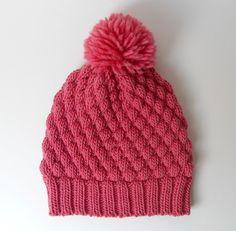 Alpaca Wool Knit Hat, Pom Pom Beanie, Chunky Beanie, Rose Knitted Hat, Alpaca Hat