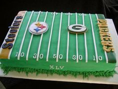 Superbowl cake...Cool. Just as long as the names of the teams playing and the number for the Superbowl is on the cake.