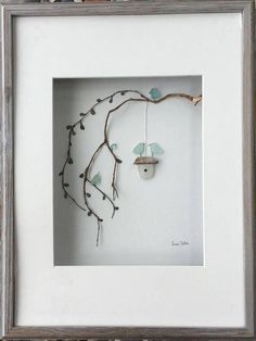 Sea Glass as art – doable Genuine SeaGlass Pebble Art Bird Family with Bird Hous… Sea Glass as art – feasible Genuine SeaGlass Pebble Art bird family with bird house in a Sea Glass Crafts, Sea Glass Art, Stained Glass Art, Sea Glass Jewelry, Broken Glass Art, Shattered Glass, Glass Art Design, Crushed Glass, Shadow Box Frames