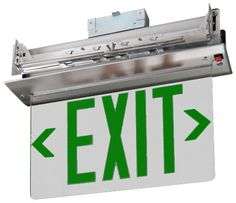 Recessed Edge Lit Exit Sign - Green LED http://www.emergencylights.net/green-recessed-edge-lit-exit-sign/