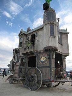 Steampunk tiny house trailer