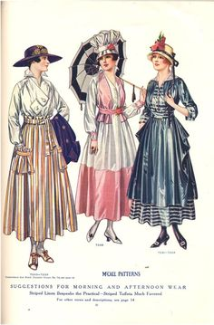 """yeoldefashion:  A page from the July 1916 issue of McCall's Magazine. """"Striped Linen Bespeaks the Practical - Striped Taffeta Much Favored""""  I love the fashionable bakers cap on the gal in the middle!"""