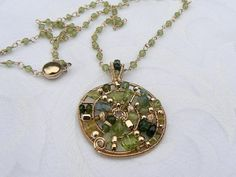 Peridot Gold Filled Spiral Pendant  Mixed by silhouettejewel, $50.00