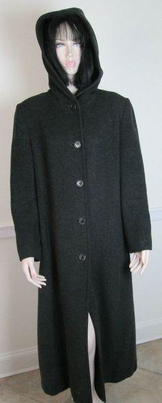 Gorgeous Jones New York Charcoal Gray Long Wool Coat with Hood size 10 #JonesNewYork #BasicCoat