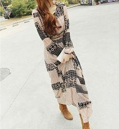 $14.76 Floral Print Bohemian Scoop Neck Long Sleeve Maxi Dress For Women