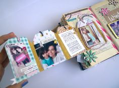 Mini Album Scrapbook, Mini Albums Scrap, Scrapbook Journal, Travel Scrapbook, Couple Scrapbook, Diy Crafts For Girls, Diy Arts And Crafts, Paper Crafts, Elizabeth Craft Designs