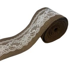 """3"""" Brown Burlap Ribbon With White Lace 5 Yard Roll - Made in USA"""