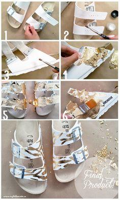 DIY Gold Leaf Sandals Birkenstock SoftMoc