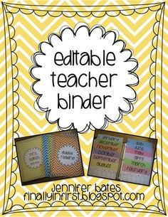 Editable Chevron Teacher Binder and Calendar