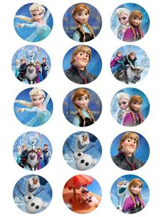 Olaf digital collage for cupcake toppers 2 in round sheet 8.5x11 - 747