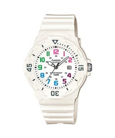 BUY NOW White watch with multicolored hour markers and ribbed resin band. Japanese quartz movement with analog display. Protective mineral crystal dial window. Features date window, bidirectional bezel, and buckle closure. Water-resistant to 100 m (330 ft) BUY NOW $18.49 BUY NOW