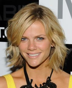 This short fun and flirty hair style is layered all through the back and sides for shape and style. A great short haircut for oval, round, square face shapes. Brooklyn Decker Hairstyle