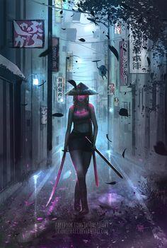 Samurai Girl by SimArtWorks on DeviantArt Art Cyberpunk, Cyberpunk Aesthetic, Cyberpunk Character, Wallpaper Gamer, Mobile Legend Wallpaper, Girl Wallpaper, Ronin Samurai, Samurai Anime, Samurai Concept