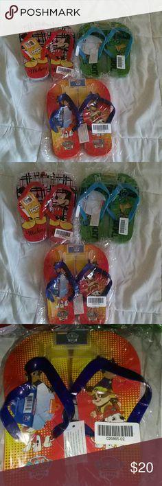 Kids Flip-Flops Bundle Disney Nickelodeon Size 2/3 Brand New   Flip flops  Kids Size 2/3  Mickey Mouse Teenage Mutant Ninja Turtles (TMNT) Paw Patrol Nickelodeon Shoes Sandals & Flip Flops