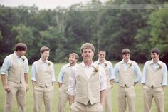 Linen groomsmen Vests + different colored shirts