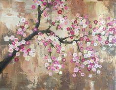Pintura de flor de cerezo por RedheadedBlunder en Etsy