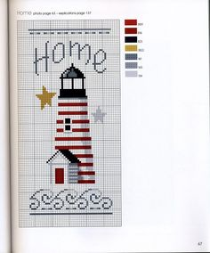 cross stitch home for my beach cottage