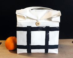 Adult lunch bag for men Zero waste lunch White lunch bag for