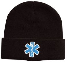 a0b01a7a70143 Star Of Life Ems Emt Black Watch Cap Ski Hat - White Blue Embroidered  Winter Hat
