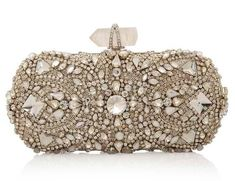 Marchesa Crystal Embroidered Clutch by liza cake Beautiful Handbags, Beautiful Bags, Bridal Accessories, Fashion Accessories, Mode Glamour, Beaded Purses, Vintage Purses, Marchesa, Evening Bags