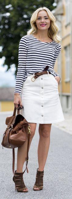 Caroline Berg Eriksen Striped Top White Button Denim Skirt Camel Strappy Sandals
