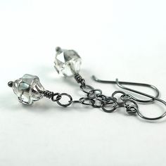 Long Oxidized Sterling Silver Dangle Earrings with Czech Crystal Glass Beads, Ready to Ship