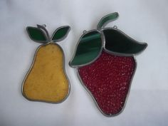 2 Stained Glass Sun Catchers Pear and Strawberry by SuzyC63, $4.00