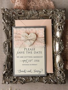 Save the date card rustic save the date, peach save the date, lace rustic save the date, wedding save the date, model no: