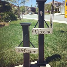 """Welcome posts approx 40"""" tall & 28"""" tall Welcome Post, Craft Projects, Craft Ideas, My Style, Building, Outdoor Decor, Diy, Crafts, Posts"""