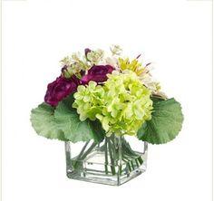 Dahlia and Ranunculus Silk Floral Arrangemnet in Faux Water Vase -ARWF1284